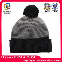 custom mens knitting beanie hat with top ball