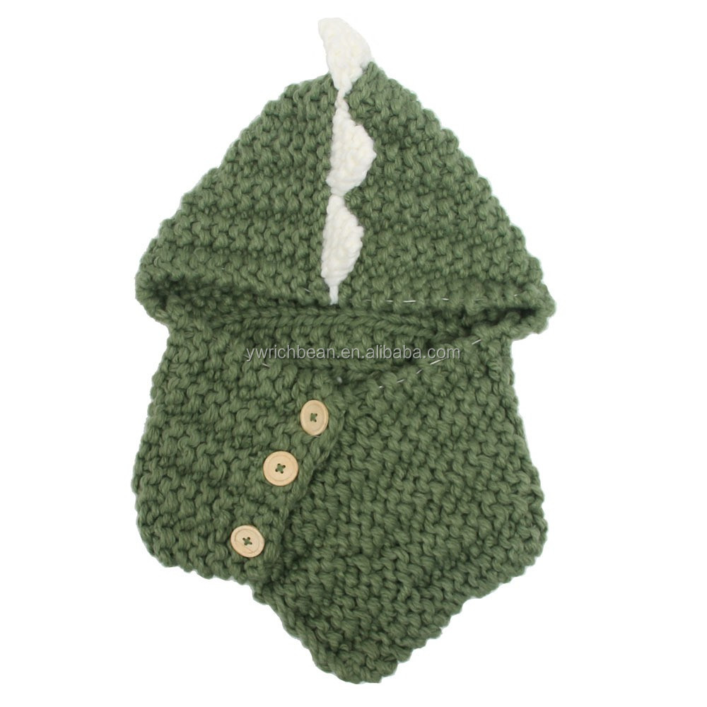 New Style Kids Cartoon Dinosaur Baby Hat With Scarf/shawl Knitted ...