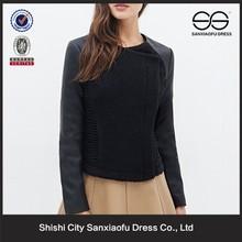 New Design Custom Leather Sleeves Ladies Coat Design, Women Leather Sleeve Wool Coats