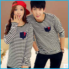 Male and female striped collar patch pocket cultivate one's morality, backing cotton T-shirt unlined upper garment