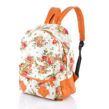2015 new canvas backpack small fresh floral art shoulder bag girl bag