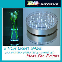 3AA Battery Operated 6 Inch LED Round 31 White LEDs Light Base For Event Decoration