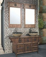 Solid Oak Wood Bathroom Cabinets with Wooden Vanity Top and Ceramic Sink
