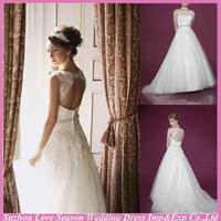 WD5434 Professional with high quality beaded diamonds belt ball gown organza lace top keyhole back lace sexy satin wedding dress