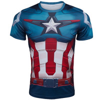 Super Heroes Captain America Men T shirt Compression Armour Base Layer Short Sleeve Thermal Under Top Sport Fitness shirt