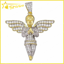 925 sterling silver lucky silver gold plated pendant double wings pave diamond cz angel pendant
