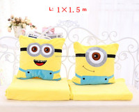 TF-0215083028 The Minions pattern cartoon coral fleece flannel fabric super soft air-condition blankets