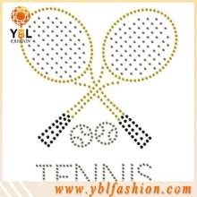 low price popular tennis ball strass hotfix rhinestone motif