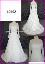 Vestidos L0492 Una boda de manga larga de cuello alto de encaje línea