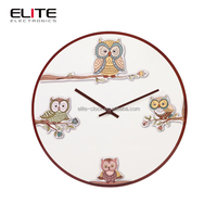 modern white cartoon kids mdf dial printing quartz decorated wall clock