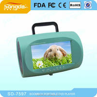 Portable DVD CD boombox with TV FM DVD USB SD Game Battery
