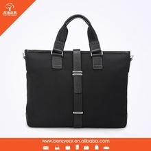 Top Quality Black Fabric Genuine Leather Men Style American Brand Handbags