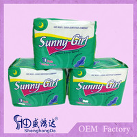 Ultra thin anion disposable sanitary napkin pads made in china by auto making machine good quanlity and hot sell to africa