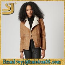 Genuine leather jacket inside fur,lamb nappa leather nylon varsity jacket