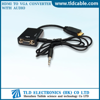 HDMI 1080P Male to VGA Female Adapter Cable with 3.5mm Audio