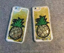 Fashion Moving Stars Liquid Glitter Quicksand 3D Bling For IPhone 5 5S 5G Pineapple Case Cover