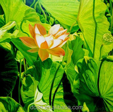 Bright green leaves circle aroud lotus flower high quality beautiful landscape paintings