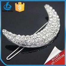 Popular fashion girls hair accessories, rhinestone moon shape hair barrette, hair pin