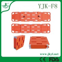 YJK-F8 brightly colored plastic spine board stretcher for rescue