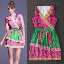 High Quality New Fashion Summer Sexy Club Dress 2015 Ladies V-Neck Runway Print Slim Fit Short Mini Dress Silk Print Vestido