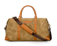 Vintage Leather And Waterproof Waxed Canvas Gym Bag Canvas Holdall Weekender Travel Duffel Canvas Duffle Bag