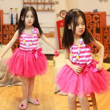 New Kids Girl's Sleeveless Stripe Pattern ball gown 3 year old girl dress SV013754