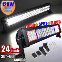 Promotion New 12V 120W 24 inch LED Work Bar Light Alloy Spot Flood Combo Driving Off Road Boat Lamp