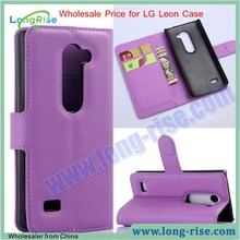 Wholesale Price Lichee Pattern Magnetic Flip Wallet Leather Phone Case for LG Leon 4.5 inch Case with Card Slot