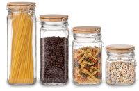 SINOGLASS trade assurance 4 pcs set clip top storage jar set glass jar with bamboo lid