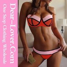 fashion wholesale pink bikini swimwear bikini for mature women