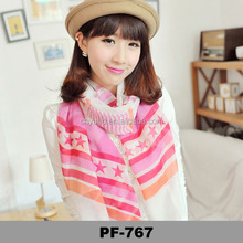 Europe and America hot sell fashion star and stripe printed scarf shawl