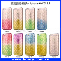 Mobile Phone Accessory Ultra Thin Clear Crystal Soft TPU Phone Case 3d Water Rain Drop Cover For iPhone 6 4.7