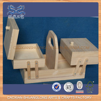 New Design Wholesale Unfinished Cheap Wooden Custom Folding Sewing Box