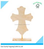 Custom Unfinished Flourish Style Stand Wood Cross