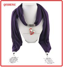 Fashion colorful polyester christmas pendant scarf