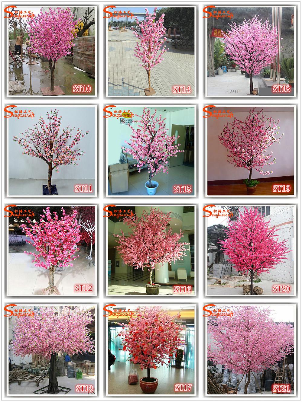 Pink Plastic Cherry Blossom Tree Indoor Cherry Blossom Tree Silk