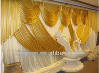 Luxury wedding stage wall decoration backdrops drapes with gold swag curtains