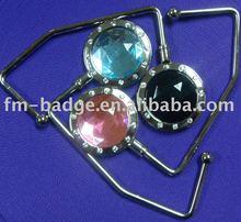 Not folding handbag hook with diamond stone