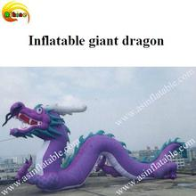 Beautiful and grand purple inflatable giant dragon with good advertising