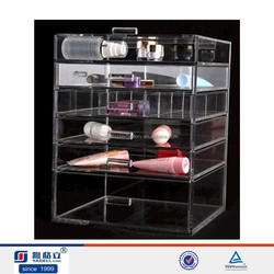 Fashion 5 tiers transparent acrylic makeup organizer cosmetic display case with multilayer drawer