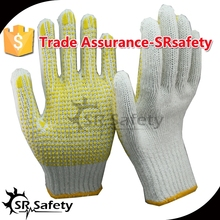 SRsafety 7G polycotton dotted working gloves/Yellow safety cotton working gloves