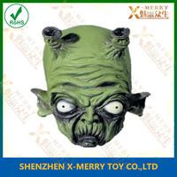 X-MERRY Green Demon Devil Old Man Alien Latex Full Head Real Face Mask