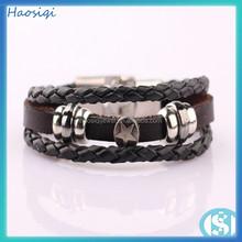 Charms Mens Leather Bracelet Black Leather Braided Bracelet