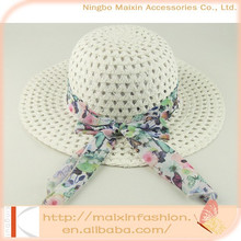 White summer fashion kids straw hat with fabric ribbon