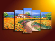 5 panel wall decor scenery palette knife100% hand painted Oil carving knife Painting on Canvas Mediterranean painting