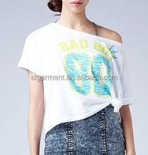 Ladies Cropped T-shirts Sexy short tee Printing Women Short t-shirt