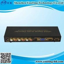 1080P VGA Digital Analog Audio Decoder with 6 channel RCA--factory supply