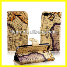 "Continent Map Pattern Genuine Leather Case for iPhone 5 Wallet Stand Case Card Slot Holder Phone Case for iPhone 5"" 2013 New Hot"