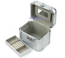 Decorative Silver Aluminum Jewelry Case With Mirror