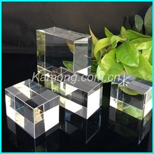 Hot selling blank crystal glass cube in Pujiang